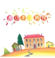 Autumn countryside with houses vector image vector image