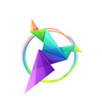 awesome colorful origami bird logo design vector image