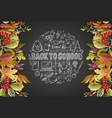 banner back to school with leaves and school vector image vector image