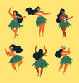 beautiful hawaiian girl dancing hula and ukulele vector image