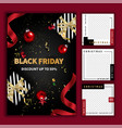 black friday social media post template for vector image vector image