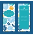 blue and yellow flowersilhouettes vertical frame vector image