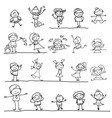 cartoon character kids playing vector image vector image