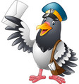 cartoon funny pigeon bird delivering letter vector image