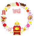 Chinese New Year Text with Icons and Chinese God vector image vector image