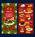christmas dinner cuisine restaurant menu vector image