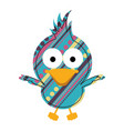 colorful caricature bird open wings with texture vector image