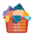 colorful silhouette of laundry basket with heap of vector image vector image
