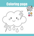 coloring page with cute cloud character vector image vector image