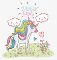 cute unicorn with kawaii clouds and plants vector image vector image