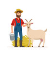 farmer with goat and bucket with goat milk and hay vector image vector image