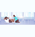 fat obese couple doing sit-ups african american vector image vector image