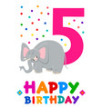 fifth birthday cartoon greeting card design vector image