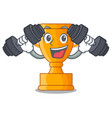 fitness character gold trophy award for vector image