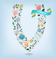 floral letter v with blue ribbon vector image vector image