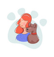 friendly domestic dog hugs together with people vector image vector image