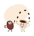 funny characters of crazy coffee bean and juggling vector image vector image