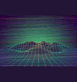futuristic abstract mesh mountains with glitch vector image