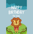 happy birthday to you lion cartoon vector image vector image