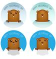 Happy Groundhog Day with Groundhog Set vector image vector image