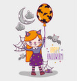 happy halloween card cartoons vector image vector image