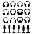headphones and microphones vector image vector image