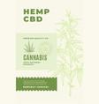 hemp cbd premium oil abstract design label vector image vector image