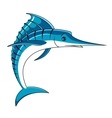 Jumping big blue marlin fish vector image