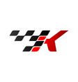letter k with racing flag logo vector image vector image