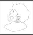 line art portrait african american woman vector image vector image