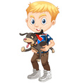 Little boy holding a dog vector image vector image