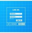 login form on blueprint background vector image vector image
