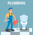 male plumber cartoon character with wrench tool vector image vector image
