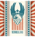 memorial day typographic card with american vector image