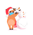 ox in santa hat making snowman cow wearing mask vector image vector image