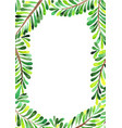palm leaves frame watercolor for summer vector image vector image