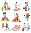 people traveling set family couple with luggage vector image vector image