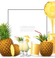 realistic fresh pineapple fruit template vector image vector image