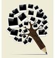 Retro instant photo concept pencil tree vector image vector image