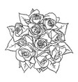 roses line art 05 vector image