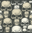 seamless background with hand drawn human skulls vector image