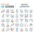 set flat line icons medical laboratory vector image