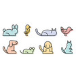 simple set pet related line icons contains vector image vector image