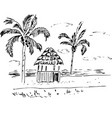 sketch tropical landscape with palms vector image