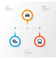 transportation icons set collection of cab road vector image vector image