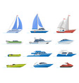 travel yacht and powerboat cruise boats luxury vector image