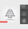 wedding cake line icon with shadow and editable vector image vector image