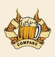 wheats a glass beer badge vector image