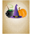 Witch hat boiling cauldron and pumpkin vector image vector image