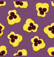 yellow pansy flower on purple background vector image vector image